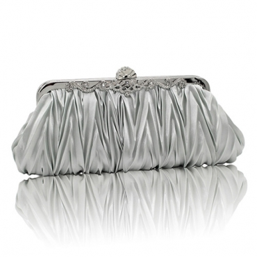 Fashion Silver Satin Clutches Bags