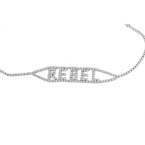 Модные письма Rhinestone Decorative Silver Metal Necklace