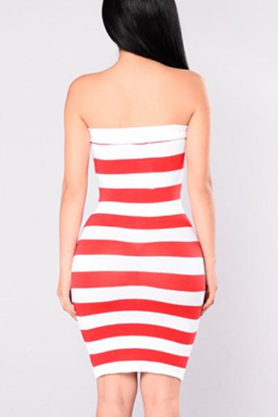 Euramerican Dew Shoulder Printed Pink Milk Fiber Sheath Knee Length Dress (Independence Day)
