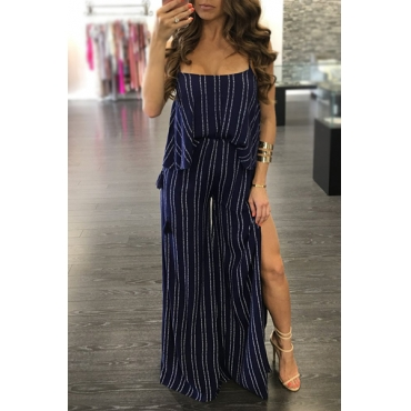 Sexy Backless Striped Blue Polyeste Two-piece Pants Set