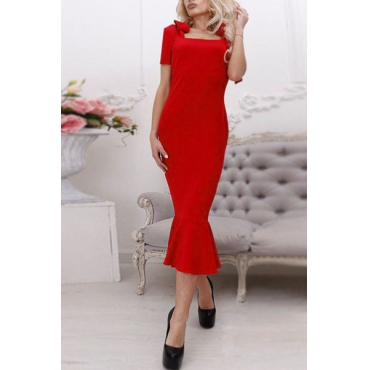 Sexy Square Collar Sleeveless Lace-up Design Red Cotton Blend Sheath Mid Calf Dress