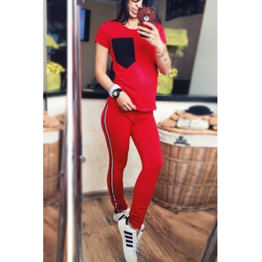Leisure Round Neck Short Sleeves Patchwork Red Polyester Two-piece Pants Set