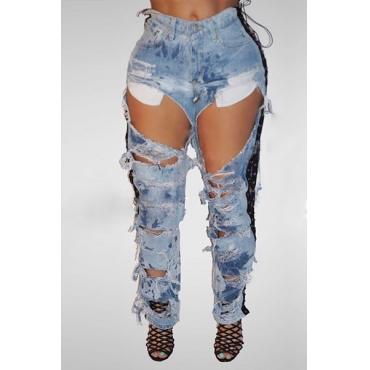 Trendy High Waist Broken Holes Blue Denim Jeans
