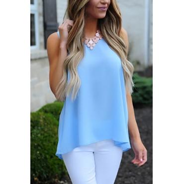 Trendy Round Neck Sleeveless Skyblue Cotton Blends Shirts