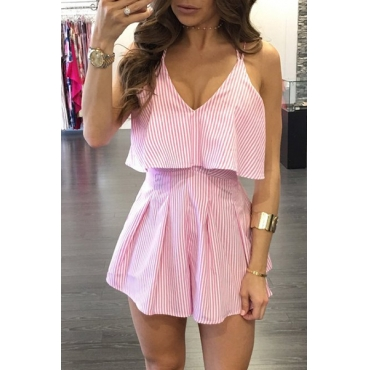 Sexy V Neck Backless Striped Pink Cotton One-piece Jumpsuits