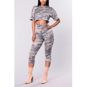 Leisure Hooded Collar Short Sleeves Camouflage Printed Healthy Fabric Two-piece Pants Set
