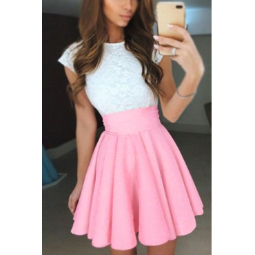 Fashion Round Neck Short Sleeves Patchwork Pink Polyester Sheath Mini Dress