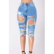 Stylish High Waist Broken Holes Light Blue Denim Shorts