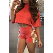 Red Cotton Shorts Solid O neck Short Sleeve Sexy Two Pieces