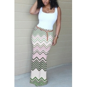 Elegante em forma de u pescoço sem mangas onda stripe impresso algodão verde bainha vestido de comprimento tornozelo