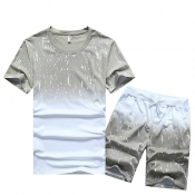 Pullovers Cotton Blends O Neck Short Sleeve Print Men Clothes
