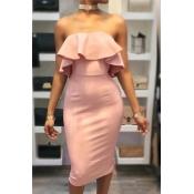 Chifre Dew Shoulder Falbala Design rosa de algodão bainha vestido do joelho