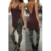 Sexy Spaghetti Strap Sleeveless Backless Wine Red Viscose Fiber Tank Top