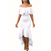 Charming Dew Shoulder Falbala Design White Polyester Ankle Length Dress