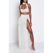 Sexy Hollow-out High Split White Chiffon Two-piece