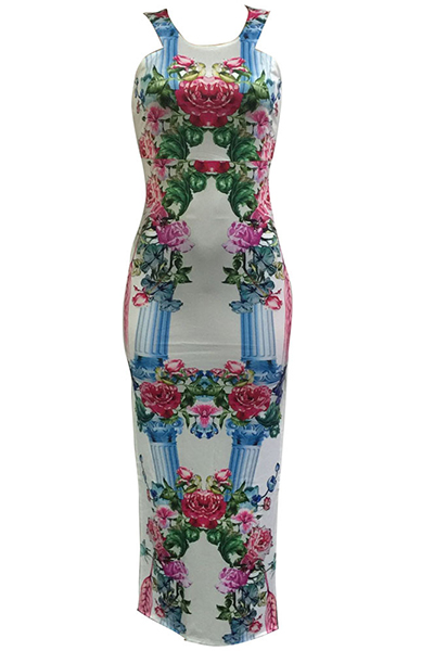 Estilo de cuello redondo sin mangas del tirante de espagueti de la impresión floral del vestido de la envoltura del tobillo longitud Qmilch