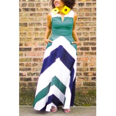 Lunghezza del vestito Bohemian scollo a V senza maniche a righe stampato poliestere blu caviglia