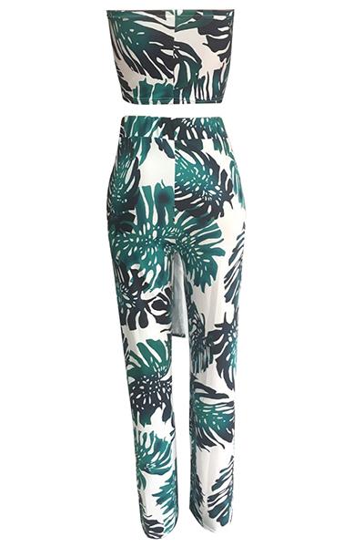 Stylish Dew Schulter Gedruckt Grün Qmilch Zweiteilige Hose Set