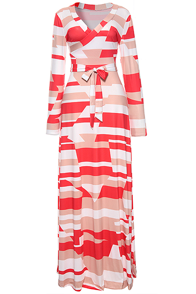 Stylish V Neck Three Quarter Sleeves Printed White Healthy Fabric Ankle Length Dress (With Belt)