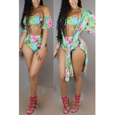 Sexy Printed Green Polyester Two-piece Swimwear(Contain Shawl)