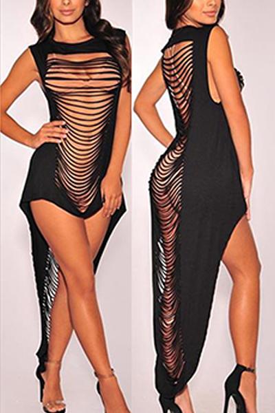 Sexy Round Neck Sleeveless Hollow-out Black Milk Fiber Sheath Ankle Length Dress