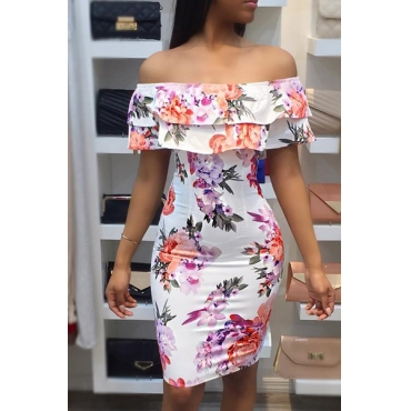 Stylish Floral Print Milk Fiber Knee Length Dress