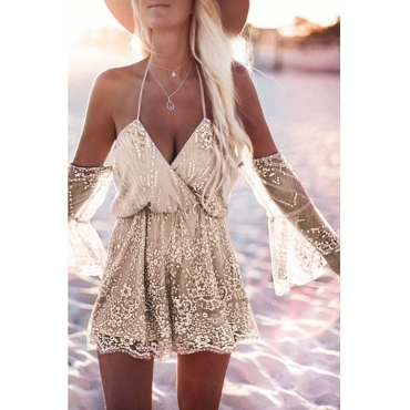 Sexy V Neck Backless Blending One-piece Jumpsuits