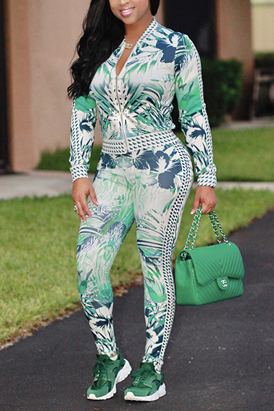 Stylish Mandarin Collar Long Sleeves Printed Green Healthy Fabric Two-piece Pants SetGreen Healthy Fabric Pants Print Mandarin Collar Long Sleeve Casual Two Pieces