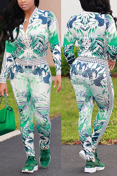 Collier élégant en mandarine à manches longues, imprimé vert, tissu sain Ensemble de pantalons en deux piècesGreen Pantalon en tissu sain, imprimé Mandarin Collar Long Sleeve Casual Two Pieces