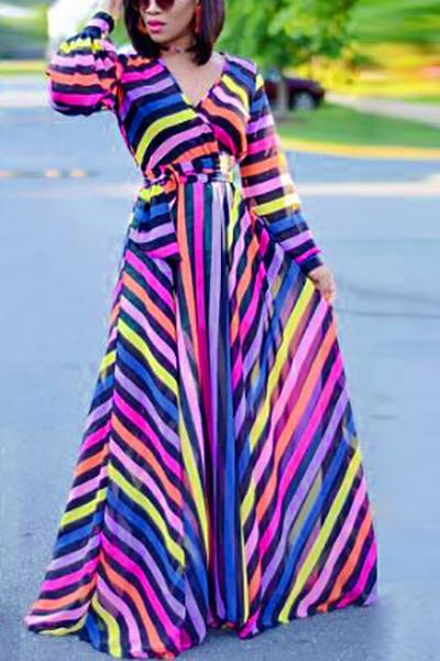 Vestito lungo alla caviglia della fibra del latte stampata alla moda con maniche lunghe a collo V