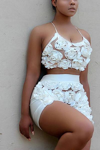 Rose sexy senza bretelle del collo a forma di U decorano i bicchierini a due pezzi del merletto bianco