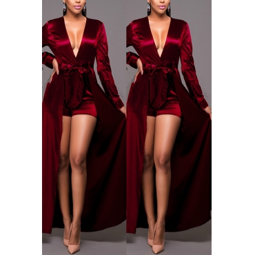 Euramerican V Neck Long Sleeves Patchwork Wine Red One-piece Jumpsuits(With Belt)