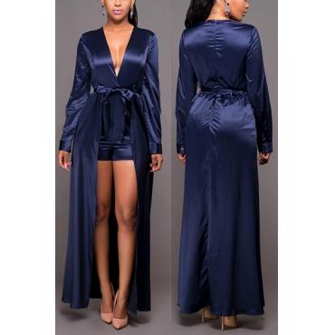 Euramerican V Neck Long Sleeves Patchwork Dark Blue One-piece Jumpsuits(With Belt)
