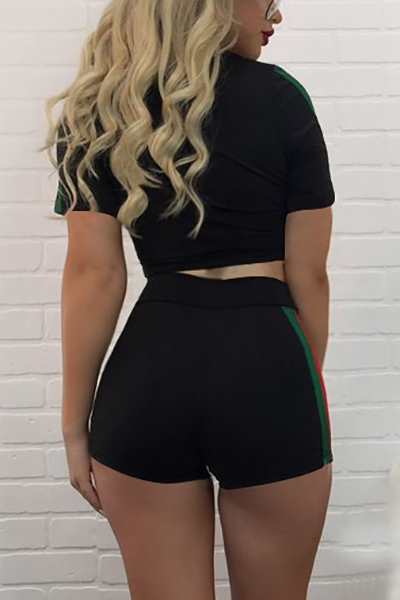 Leisure Short Sleeves Color Block Black Cotton Two-piece Shorts Set