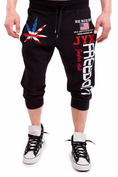Freizeit elastische Taille bedruckte schwarze Baumwollmischungen Hosen
