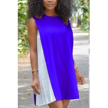 Casual Round Neck Tank Sleeveless Patchwork Blue Chiffon Mini Dress