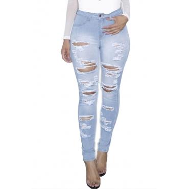 Trendy Mid Waist Broken Holes Light Blue Cotton Jeans