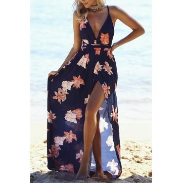 Sexy V Neck Sleeveless Printed Cotton Ankle Length Dress