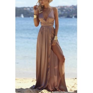 Sexy V Neck Backless Light Brown Cotton Ankle Length Dress