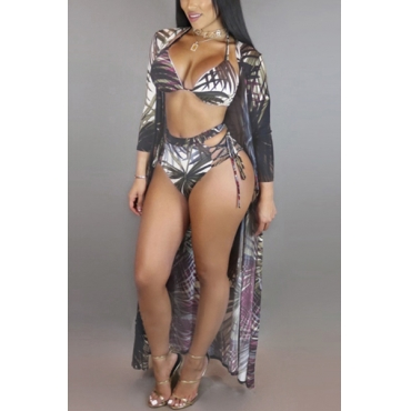 Sexy Plant Printing Polyester Two-piece Swimwear(With Shawl)