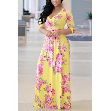 Stylish V Neck Half Sleeves Floral Print Yellow Milk Fiber Floor Length Dress