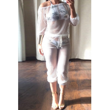Sexy Hollow-out White Gauze One-piece Jumpsuits(Without Lining)