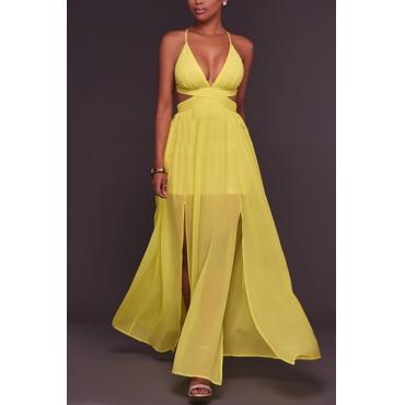 Sexy V Neck Backless Yellow Chiffon Floor Length Dress