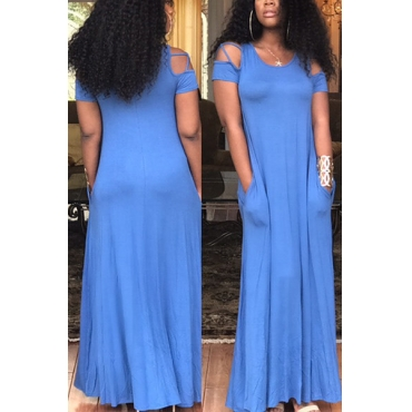 Stylish Round Neck Short Sleeves Hollow-out Blue Blending Floor Length Dress