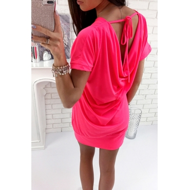 Sexy Round Neck Hollow-out Red Polyester Mini Dress