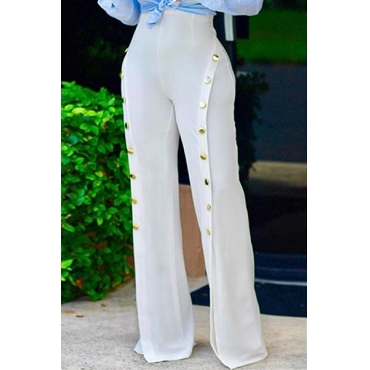 Stylish High Waist Buttons Decorative White Chiffon Pants