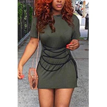 Leisure Round Neck Short Sleeves Army Green Cotton Mini Dress