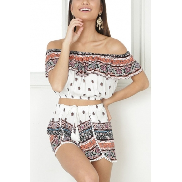 Leisure Dew Shoulder White Cotton Blend Two-piece Shorts Set(Non Positioning Printing)