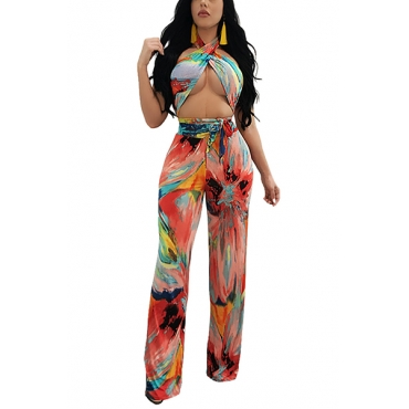 Stylish Printed Backless Milk Fiber Two-piece Pants Set(Non Positioning Printing)