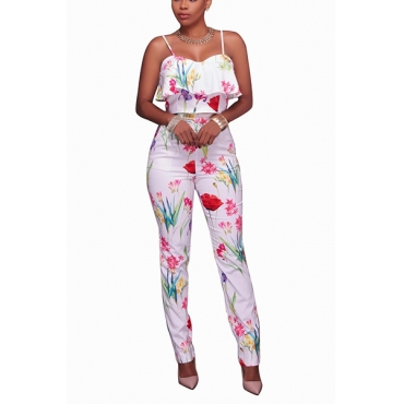 White Healthy Fabric Pants Print Sleeveless Sexy Two Pieces